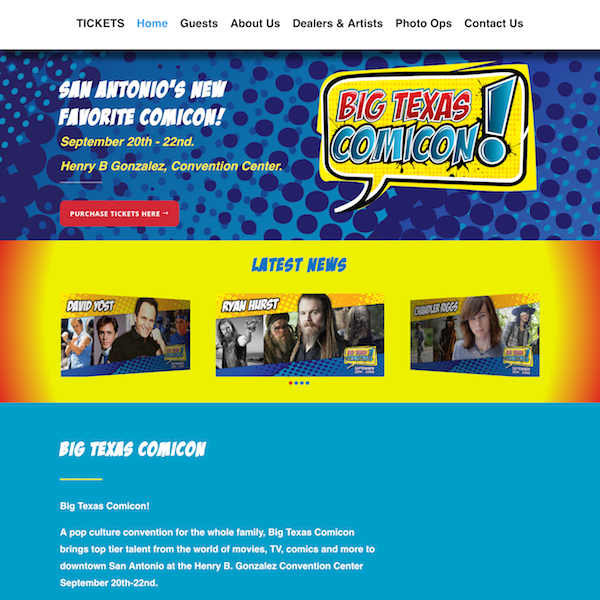 Big Texas Comicon Website Development