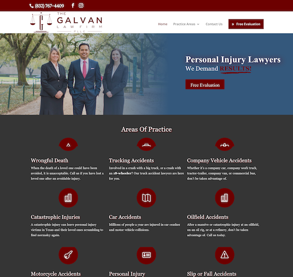 Galvan Injury Law Website