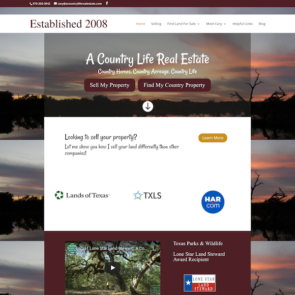 A Country Life Real Estate Website